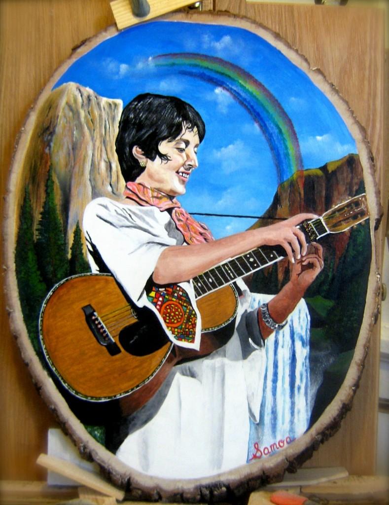 Oil on wood cut panel